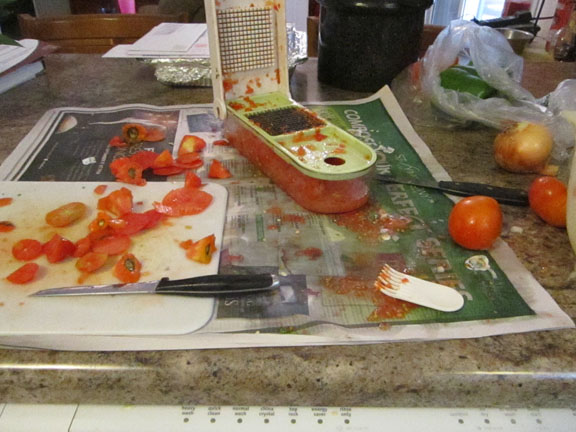 A mess on the countertop