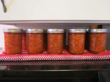 Ten jars of Salsa