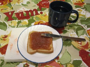 Apple butter on toast with coffee