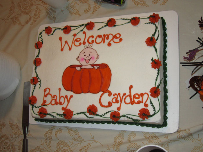 Fall Themed Baby Shower Cakes Part - 49: Welcome Baby Cayden Sheet Cake