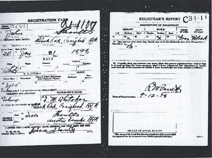 John Shoults WWI Draft Registration