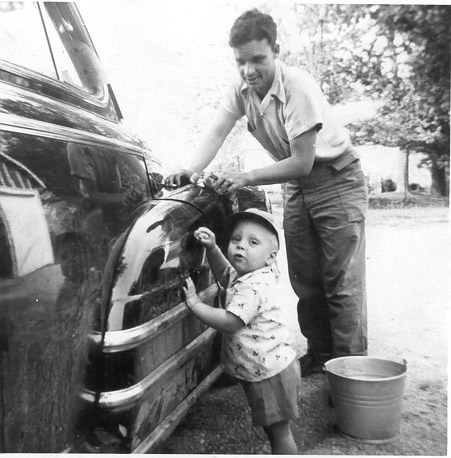 Charles and Darrell Shoults washing dad's car
