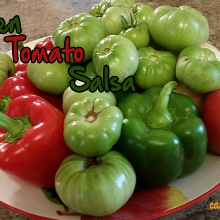 Green tomatoes, red and green peppers