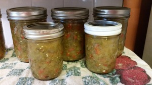 Jars of canned green tomato relish