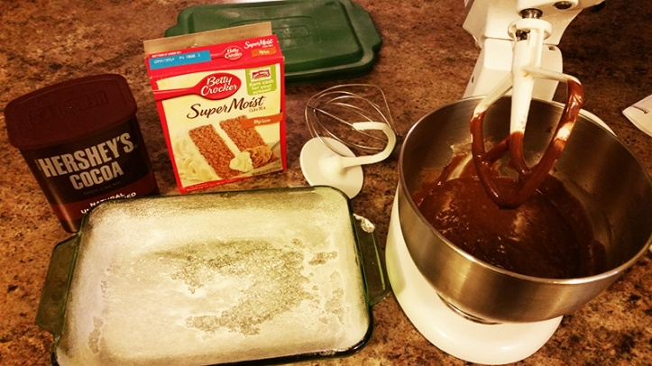 spice cake mix, cocoa, prepared cake pan and mixer