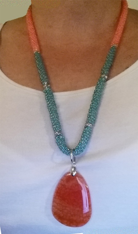 coral and teal kumihimo necklace