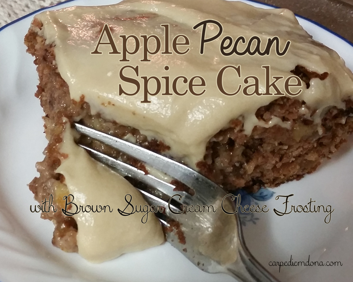 Apple Pecan Spice Cake with Brown Sugar Cream Cheese Frosting |