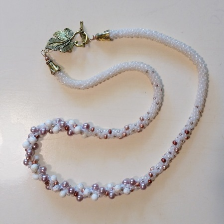 Pearl beaded Kumihimo braided necklace