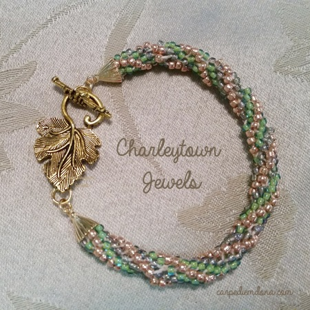 Green and Gold 12 Strand Spiral Kumihimo Bracelet