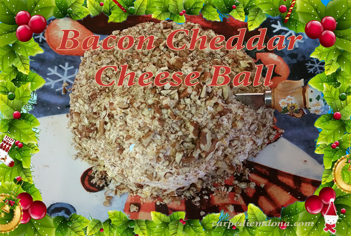 bacon cheddar cheese ball with frame