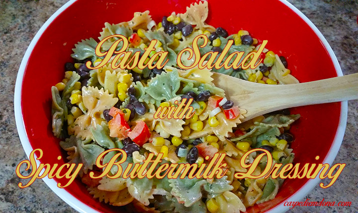 pasta salad with spicy buttermilk dressing yellow