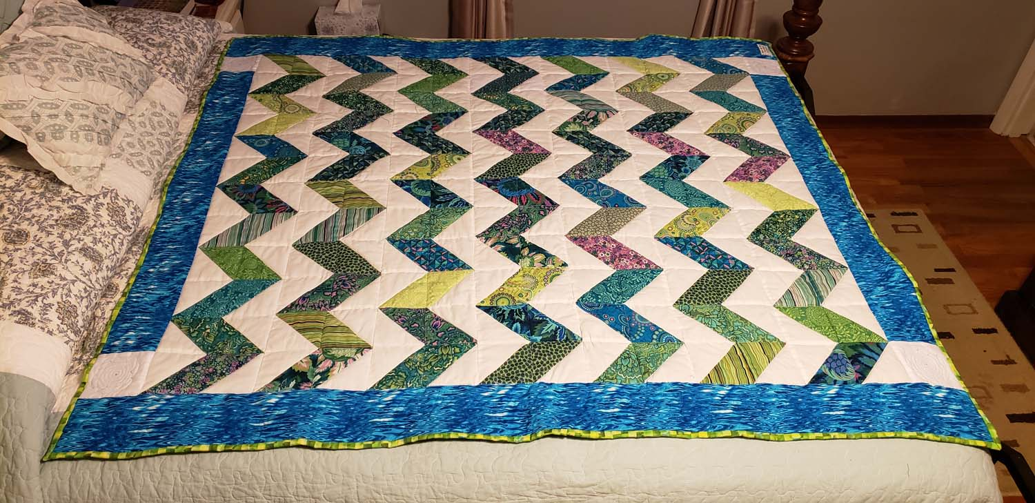 Blue and Green Chevron Quilt