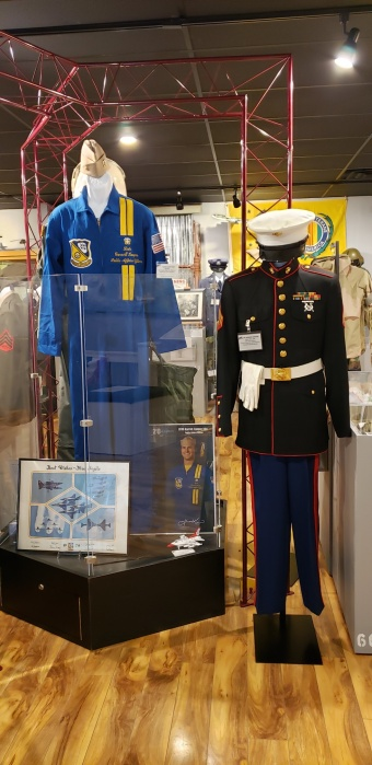 Display of uniforms of Blue Angels Commander, Garrett Kasper