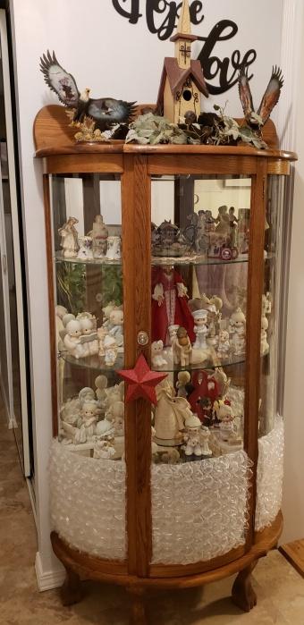 Replica antique rounded glass curio cabinet